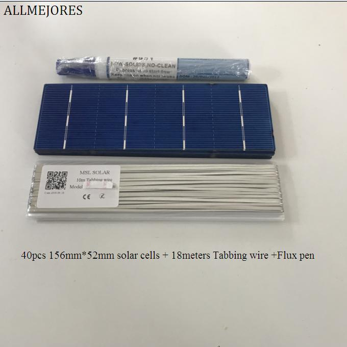 ALLMEJORES 40pcs 156mm*52mm polycrystalline Solar cell 1.4W/pcs A-Grade for DIY 50W solar panel Give Tabbing wire Flux pen