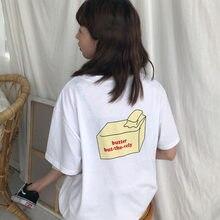 Harajuku Lolita Estilo Por Trás Manteiga Impresso T Shirt Mulheres Verão 2018  Coreano Moda Todos Algodão Simples T-shirt K 792 C.. ddd8719f7fbad