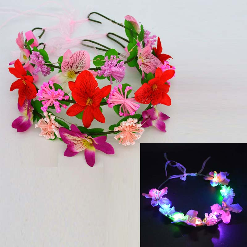 Women Girl Sexig LED Blinkande Flower Headbands Ljus Blommig Garland Wreath Glow Födelsedagsfest Dekorationer Bröllop Favoriter