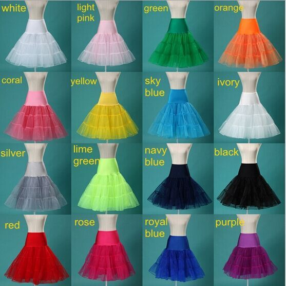 15 Colors Puffy A Line Ruffles Knee Length Petticoat Underskirt Crinoline For Wedding Dress Accessories
