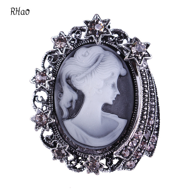 Vintage Jewelry Cameo head Brooch Pin Beauty Queen Crystal Rhinestone  Christmas Antique Gold Silver color Brooches For cc5f838d7bdf