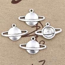 50 pçs encantos saturn planeta faísca 20x13mm antigo prata cor chapeado pingentes fazendo diy artesanal tibetano prata cor jóias