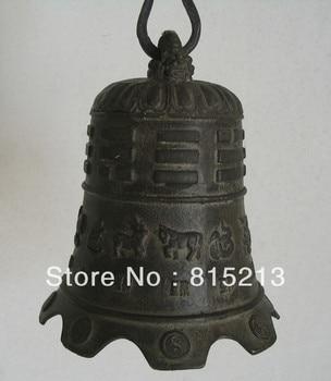 bi0041 18om Chinese Bronze Carve 12 Zodiac Dragon Horse Tiger Buddhism Temple bell