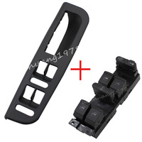 For VW Jetta Golf Mk4 Passat B5 Master Window Switch + Panel Bezel With Handle Trim New Replacement Easy install, durable