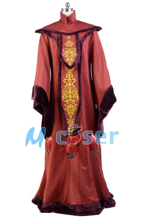 Star Wars: Episode I The Phantom Menace Padme Amidala Red Gown Dress Halloween Robe Cosplay Costumes For Adult Women Full Set