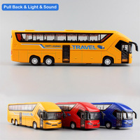 1 50 Scale Kids Mini Bus Sound Light Pull Back Metal Model Auto Miniatures Travel Outdoor