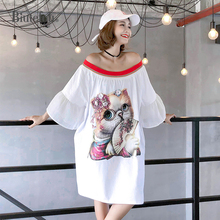 2019 Summer casual slash neck dresses women sequined cartoon appliques flare sleeve chic