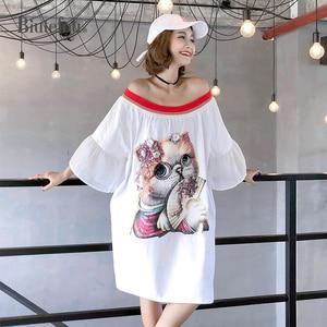 Image 1 - 2020 Summer casual slash neck dresses women sequined cartoon appliques flare sleeve chic dresses