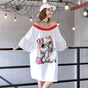 Image 1 - 2020 verão casual slash neck vestidos femininos lantejoulas dos desenhos animados apliques alargamento manga vestidos chiques
