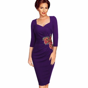 Image 3 - Nice forever Vintage Applique Flower embroidery Wear to Work vestidos Bodycon Office Sheath Women Business Dress btyB347
