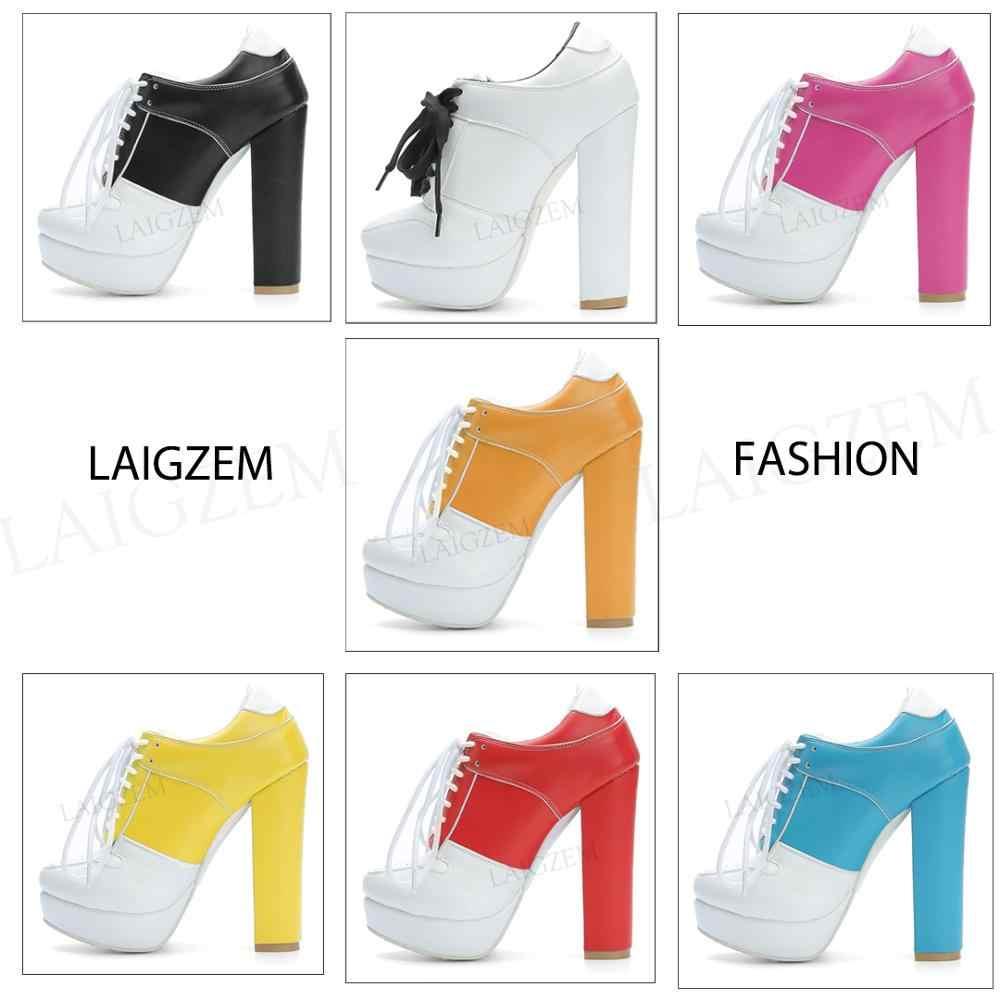 Compre LAIGZEM SUPER Cool Botines De Mujer Ajustable Con Cordones Botas De Tacón De Las Señoras Mujer Botines Mujer 2019 Pequeño Tamaño Grande 34 47 A