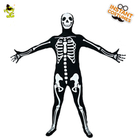 QLQ Men's Halloween Skeleton Costume Ghost Cosplay Horror Skull Purim Party Costume Skeleton Performance ( Elastic Fabric)