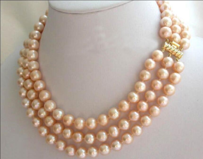10x10 bijoux livraison gratuite 3 rangées 8-9mm mer du sud rose collier de perles naturelles 17-19