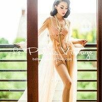 2015 Summer Style Le Palais Vintage Elegant Retro Sexy Pink Meat Perspective Gauze Lengthened Pajamas Sleepcoat Women Robes
