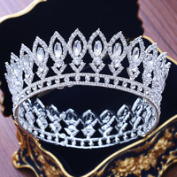 Stunning Silver Crystal Full Circle Bridal Queen Crown Luxurious Wedding Pageant Tiara Crown For Bride Hair Jewelry Accessories