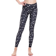 Black Women Sexy Birds Design Yoga Leggings Elastic Girls Slim Hip Running Sports Trousers Tights Quick-drying Breathable Pants