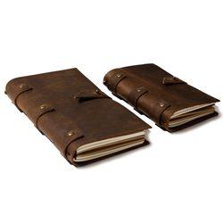 2019 cuero Vintage diario en blanco cubierta cadena Tapa dura cuaderno blando cuero genuino cuaderno diario planificador