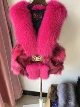 Luxury Winter Warm Real Genuine fox Fur vert for women Coat Lady natural Blue Fox Fur Waistcoat with big fox fur collar female