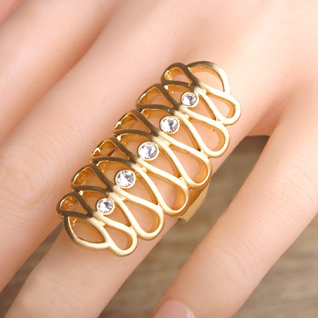 Latest Design Hollow Out Long Rings Gold Plated Wedding Bands Finger Ring Austran Crystal Engagement Ring Jewelry For Women