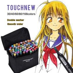 TOUCHNEW 30/40/60/80 Kleur Sketch Markers Double Headed Alcohol Vette Markers Voor Draw Manga Animatie ontwerp Art Supplies