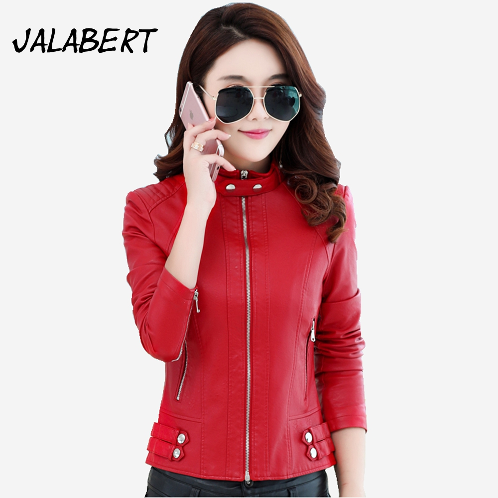 Chaquetas De Cuero Mujer Full Fashion 2017 Autumn New Women Slim Zipper Pu Coats Female Mandarin Collar Leather Jacket