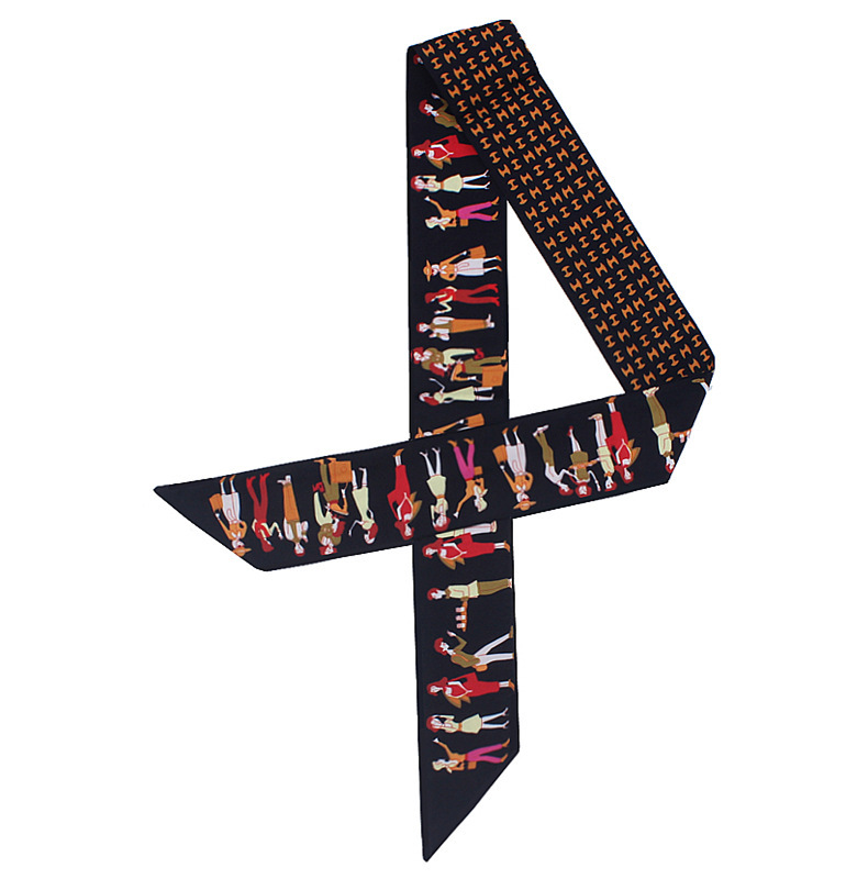 Silk Scarf Paris Ribbons Letter Holiday-Print Small Long Women Brand For Handle Bag