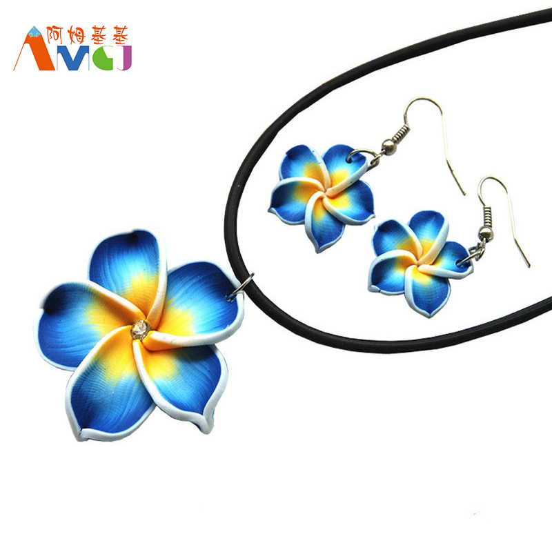 Amgj 1 set blue hawaii flowers crystal polymer clay turkish jewelry set unique design allibaba sale