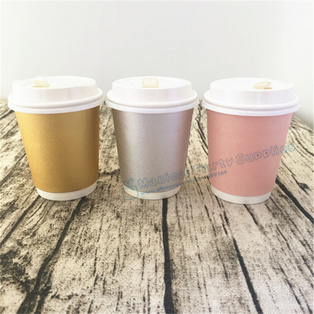 Free Ship 30pcs Thick Coffee Paper Cup Foil Gold/Pink