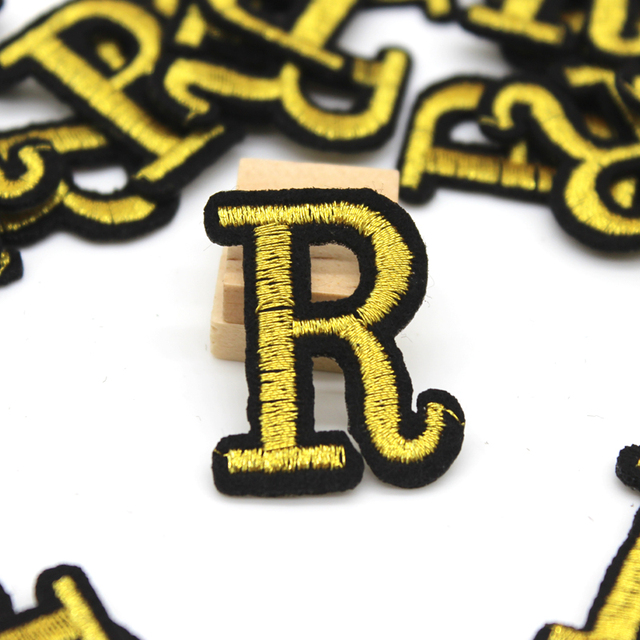 Embroidered small letter patches for iron-on clothing gold logo R patch  sticker DIY jeans