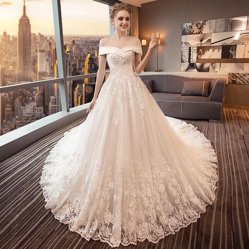 30% Discount Luxury Lace Embroidery 2019 Wedding Dresses 100cm Long Train Boat Neck Elegant Plus Size Vestido De Noiva Bride