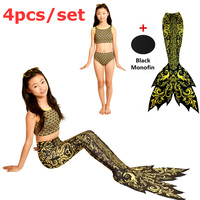 New Style Girls Mermaid Tail With Black Monofin Kids Fancy Tial Halloween Swimming Cosplay Costumes Beach Swimmable Swimsuits
