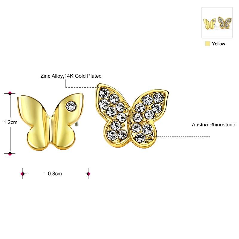 Neoglory Австрия Стразы изысканные серьги-гвоздики бабочка дизайн милый Молодежный стиль светильник желтое золото Цвет для женщин