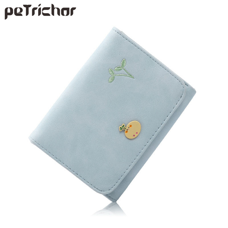 Lady Hasp Women Short Wallet with Card Holder Brand Designer PU Leather Cartoon Female Small Money Purse Photo Holder Ladies