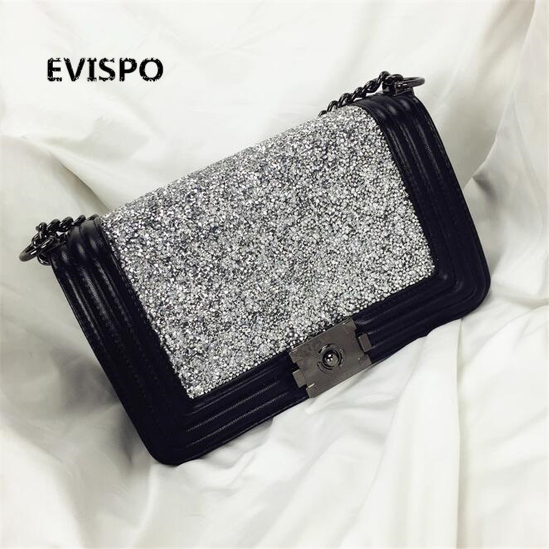 NEW HOT 2017 EVISPO Handbag black/white 2-color shoulder bag sac a main femme sac a main femme de marque luxe cuir free shipping hongu genuine leather shoulder messenger bags for women pillow shape sac a main femme de marque luxe cuir 2017 black pink online