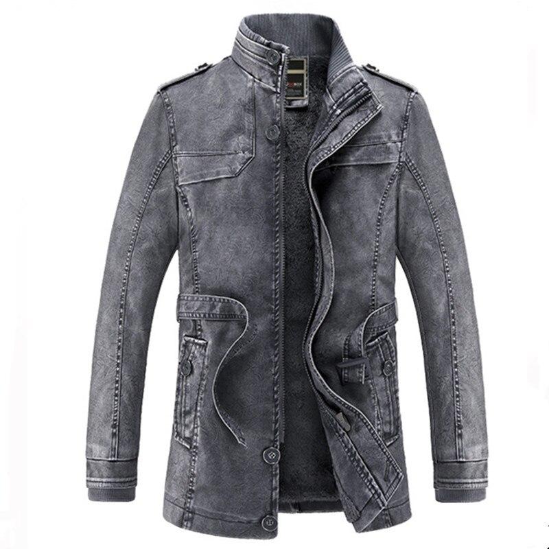 Fit Manteaux Cuir Blue Marque Hiver Survêtement Pu Vêtements Hommes Mâle black Moto coffee Mi Épais En Longue khaki Jeans Slim Gray Veste De Chaud Polaire Manteau I0OqfwcAOx