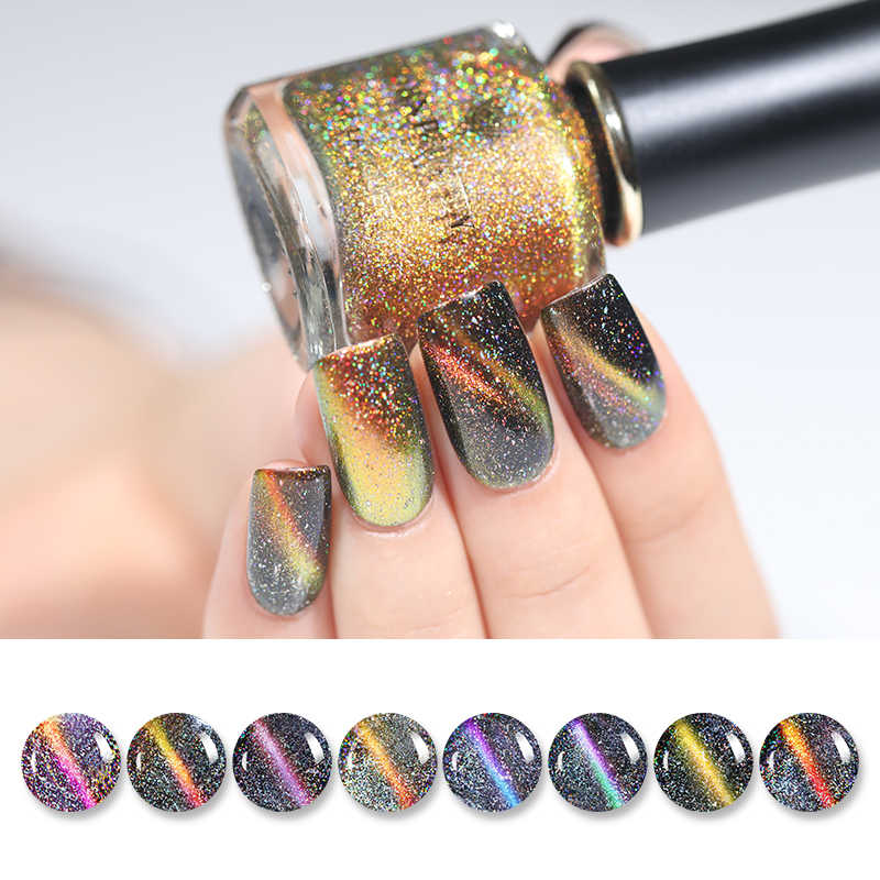 BORN PRETTY Holographic Chameleon Magnetic Nail Polish 6ml 3D Cat Eye Glitter Varnish Magnet Nail Art Lacquer Black Base Needed