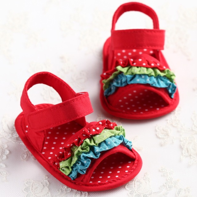 Kindstraum Princess Baby Sandals Cotton Summer Style 2017 Hot Sale Lovely Shoes for Newborn Girls, HJ168