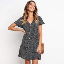 Summer Beach Dress Women Holiday Casual Raindrop Print Loose Ruffles Elegant Party Wear To Work Vestido Office