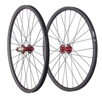 29ER Carbon Clincher Wheelset tubeless carbon fiber bike wheelsets full carbon bike wheel with carbon hub and red nipple