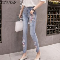 New Occident beading Women Hole Denim Jeans Boyfriend Pencil Pants Embroidery Nail Flowers Embroidered Flares Feamle Harem pants