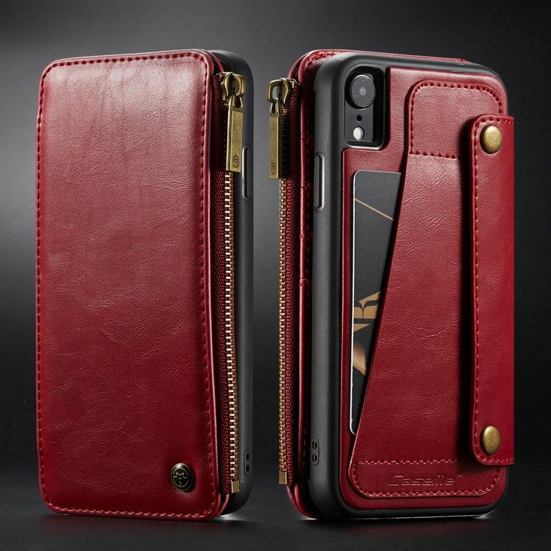 Funda tipo billetera CaseMe para iPhone XR XS Max cartera con cremallera tarjetero Funda de cuero con tapa trasera para iPhone XS Max funda de teléfono desmontable