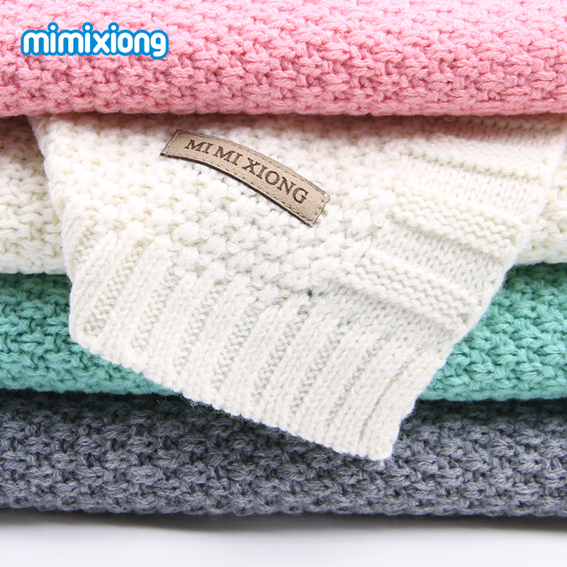 Newborns Acrylic Knitted <font><b>Swaddle</b></font> Wrap Muslin Blankets Super Soft Toddler Winter Sleeping Bedding Carseat Cover Baby Bunny Quilt