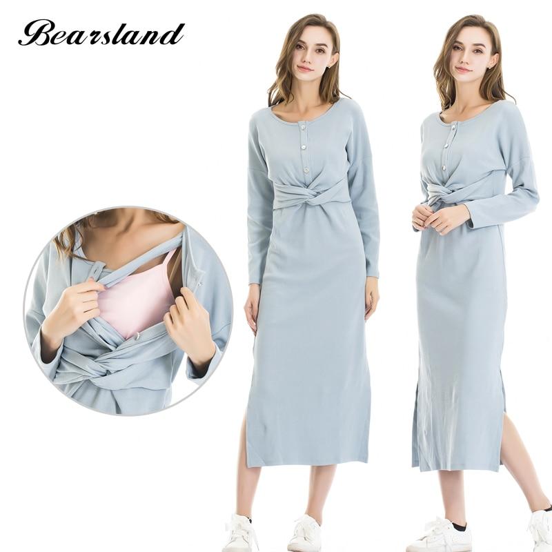 Bearsland Womens Maternity Long Style Pregnant Clothes Breastfeeding and Nursing Dress