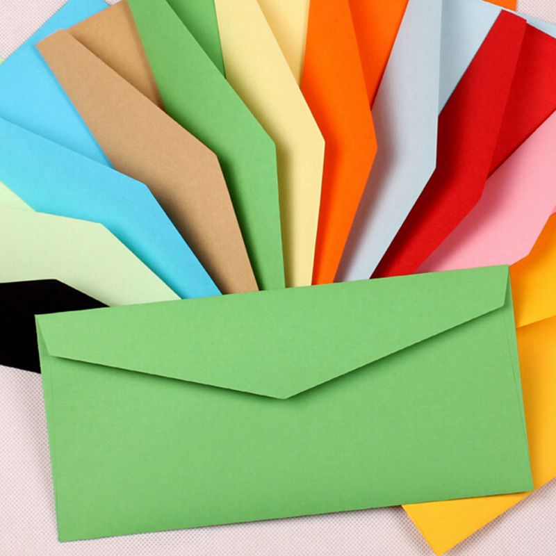 20pcs Envelopes Paper Envelopes 220*105mm Color Envelopes Cute Colorful Baby Gift Craft Envelopes For Wedding Letter Invitations