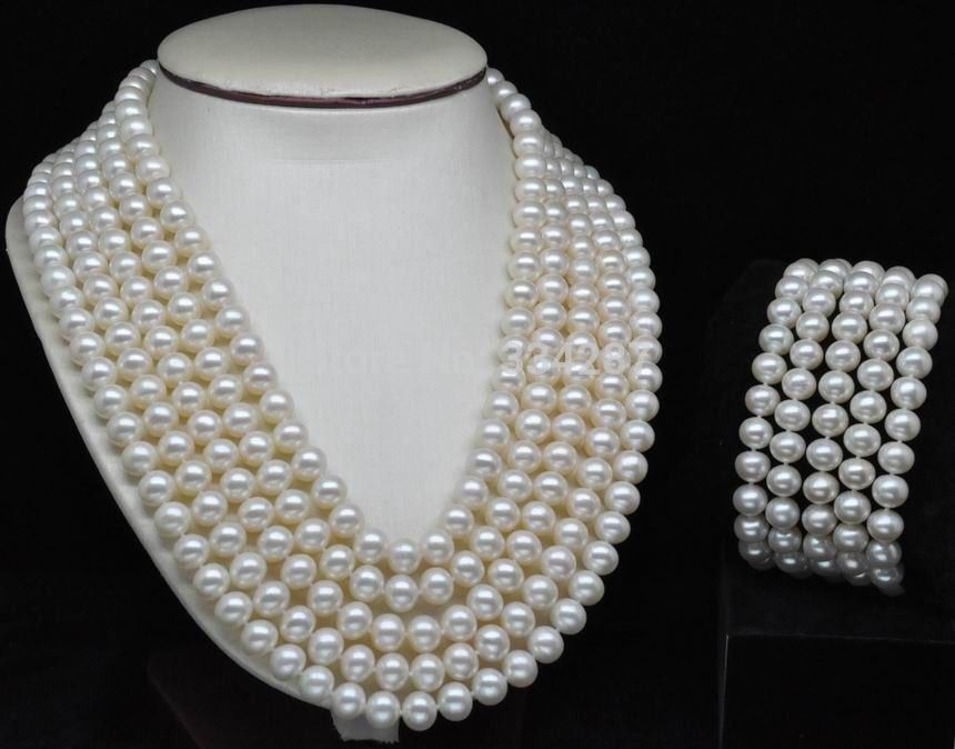 Noblest Rare 5-Row AAA+ 7-8mm White pearl Set necklaces&braceletsNoblest Rare 5-Row AAA+ 7-8mm White pearl Set necklaces&bracelets