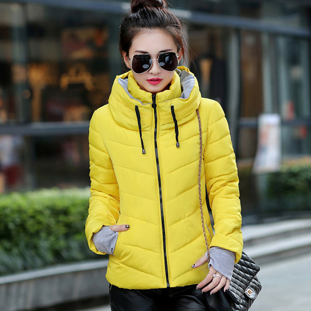 Winter Jacket Women Parkas Thicken Outerwear solid hooded Coats Short 4
