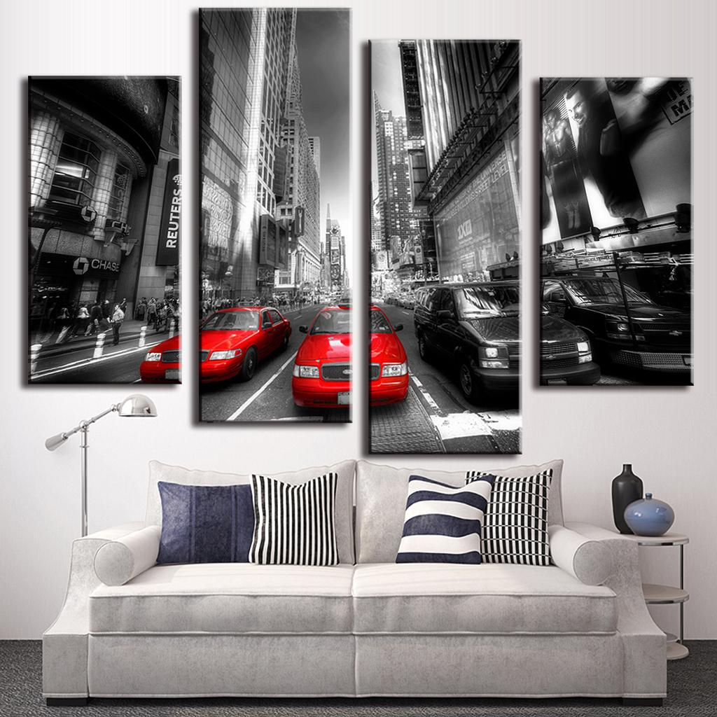 aliexpresscom  buy  pcsset new arrival modern wall painting  - aliexpresscom  buy  pcsset new arrival modern wall painting canvas wallart picture red taxis combined paintings unframed canvas painting fromreliable