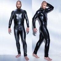 2017 3XL Man Leather Latex Catsuit Teddy Bodysuit Black Shiny Erotic Lingerie Bodysuits Zentai Body Wear