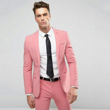 Pink Men Suits Latest Pants Coat Designs 2Piece Groom Tuxedo Two Buttons Costume Homme Prom Party Slim Fit Terno Masculino