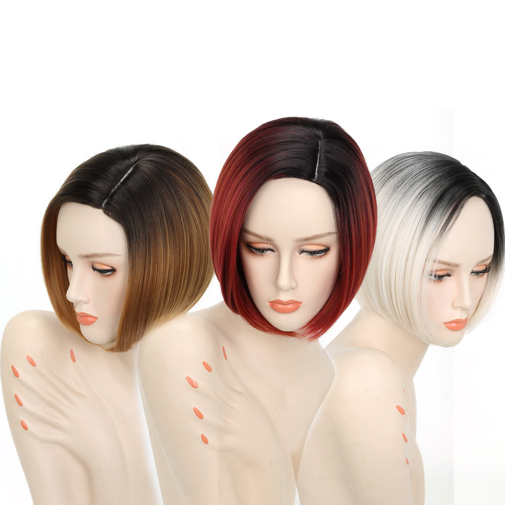 Ombre Blonde Wigs For Women Synthetic Short Hair Red Wigs Female  Heat Resistant Fiber Pixie Cut Short Wig Cosplay Peruca(China)